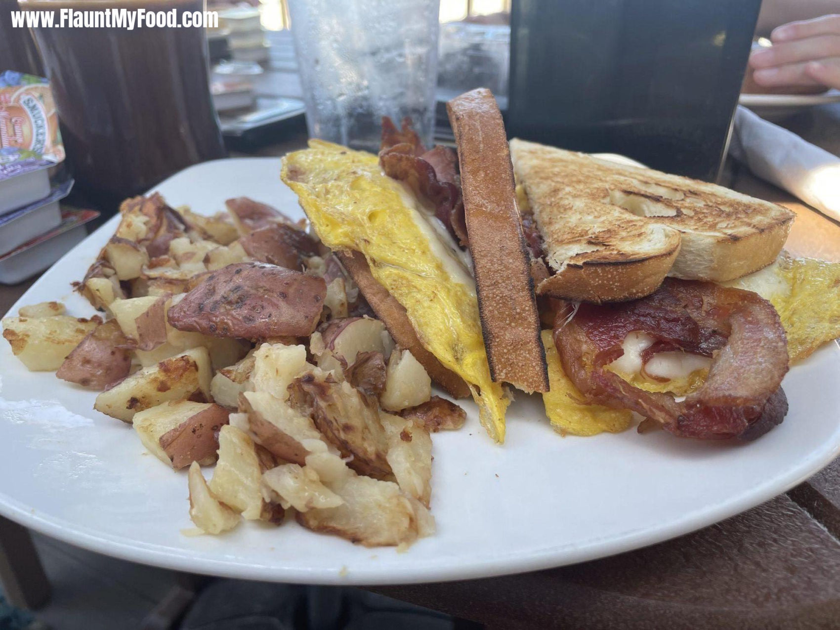 Gulf Drive CafeGulf Drive café located on Annamaria Island this is the breakfast special the eye-opener with home fries eggs and wheat sandwich bread.